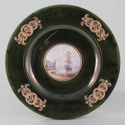 Тарелка с эмалью Фрегат