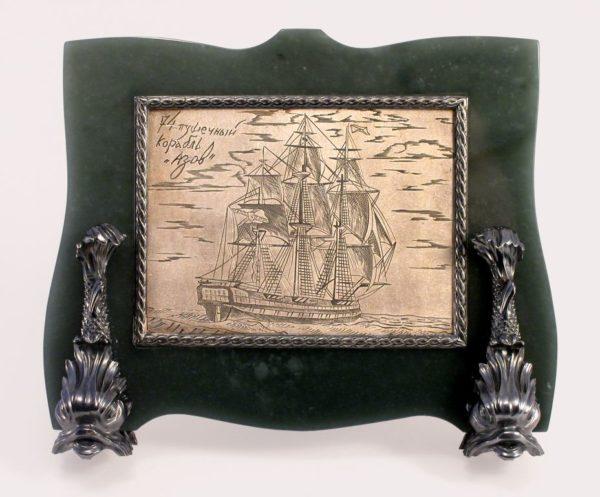 Рамка Корабль Азов с эмалью и гравировкой